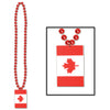 Party Supplies - Beads with Printed Canadian Flag Medallion