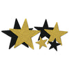 Glittered Star Cutouts, assorted black and gold