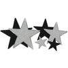 Glittered Star Cutouts, assorted black and silver