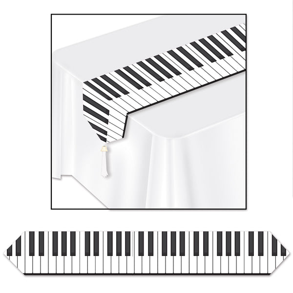 (12/Case) Beistle Printed Piano Keyboard Table Runner