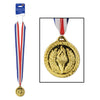 Beistle Gold Medal w/Ribbon (Pack of 12) - General Sports Party Supplies