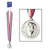 Silver Medal with Ribbon - General Party Supplies