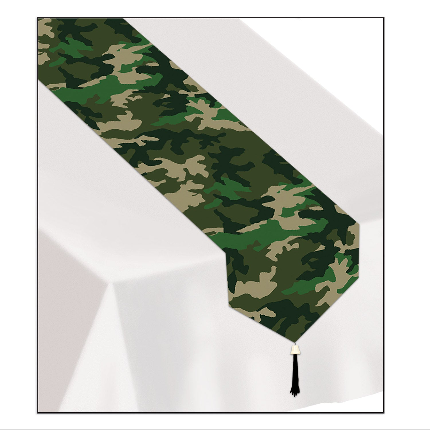 Case Of 12 Beistle Printed Camo Paper Table Runner
