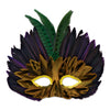 Mardi Gras Feathered Mask, party supplies, decorations, The Beistle Company, Mardi Gras, Bulk, Holiday Party Supplies, Mardi Gras Party Supplies, Mardi Gras Stuff to Wear, Mardi Gras Masks