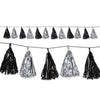 Black and Silver Metallic Tassel Garland, party supplies, decorations, The Beistle Company, Awards Night, Bulk, Awards Night Party Theme