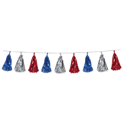 Metallic Tassel Garland Red/Silver/Blue, party supplies, decorations, The Beistle Company, Patriotic, Bulk, Holiday Party Supplies, 4th of July Political and Patriotic, 4th of July Party Decorations, 4th of July Garland