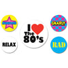Rock & Roll Party Supplies: 80's Party Buttons
