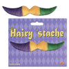 Hairy 'stache, gold, green, purple