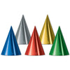 Party Accessories - Foil Cone Hats - assorted colors