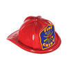 Red Plastic Fire Chief Hat with Blue Shield, party supplies, decorations, The Beistle Company, Fire Prevention, Bulk, Party Accessories, Party Stuff to Wear, Party Hats
