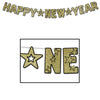 Glittered Happy New Year Streamer - black & gold