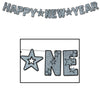Glittered Happy New Year Streamer - black & silver