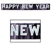 Metallic Happy New Year Banner - 10 inch by 9.5 feet