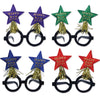 Glittered New Year Star Bopper Glasses, Assorted Colors