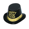Black Hi-Hat with Glittered Happy New Year -