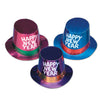 Assorted Foil Happy New Year Hi-Hats - silver glitter