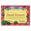 Sweet Sixteen Certificate (Pack of 6)