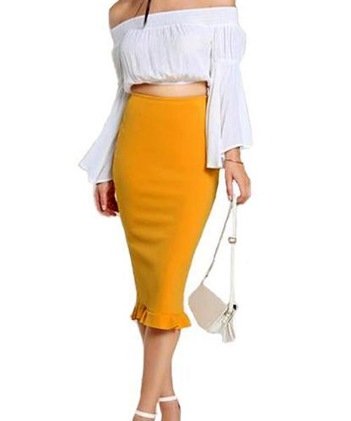 Pencil skirt with ruffles ... JP003 - Arnaud and Co