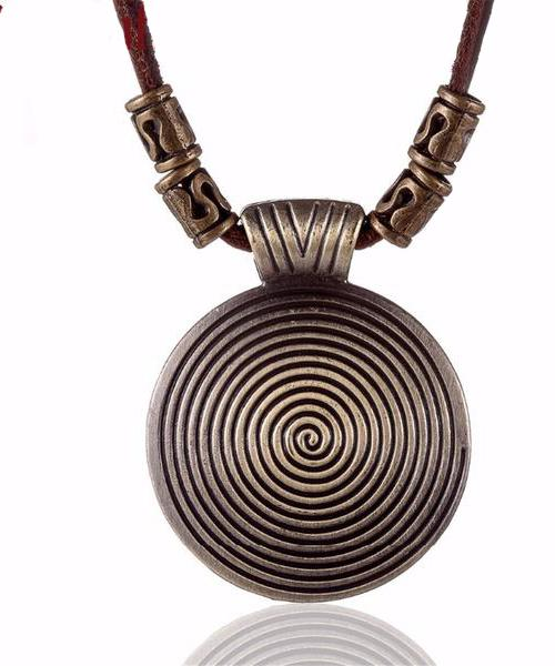 Vintage leather necklace, spiral pendant ... BFF02