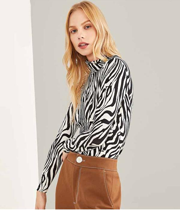 Printed 'Zebra' Top with Stand Collar, Slim Fit High Street Style ... AP05