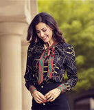 Chiffon Blouse, Printed Geometric Patterns with Decoration Tie ... AP25 - Arnaud and Co