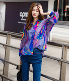 Loose Fit Blouse with Long Sleeves, Streetwear Holographic Print ... AP44 - Arnaud and Co