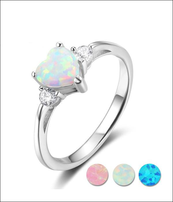 Ring with Silver Frame 925 with Heart Shaped Opal .... BBF06 - Arnaud and Co