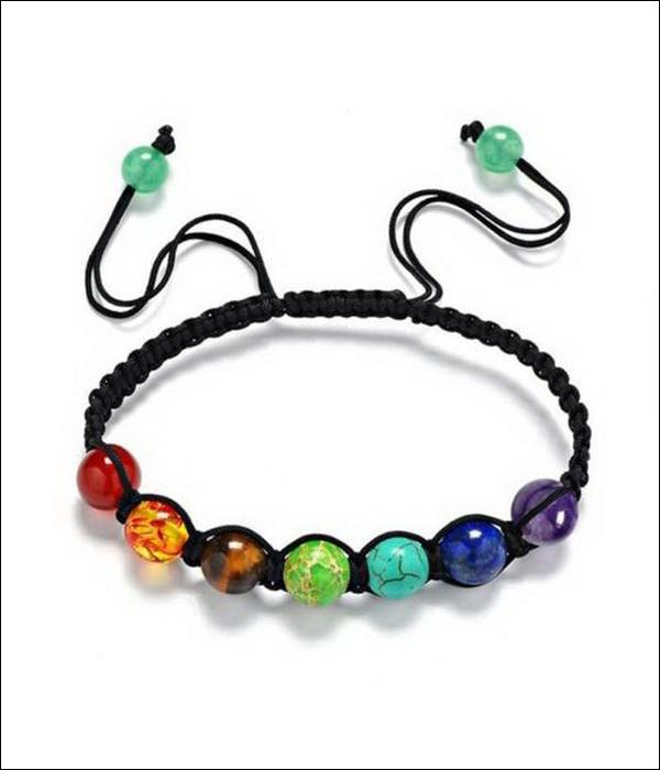 "Adjustable Leather Bracelet ""7 Chakra"" with Lava Stones for Yoga Adepts ... BBR06 - Arnaud and Co"