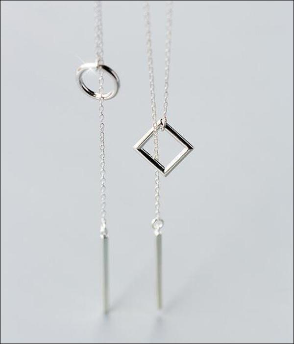925 Silver Design Necklace, with Round or Square Passant and Cubic Lucky Charm ... BCF01 - Arnaud and Co