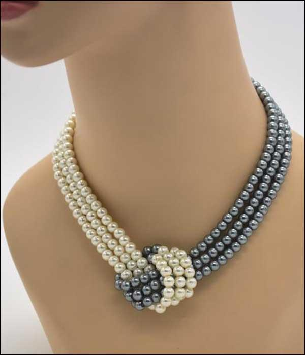 Trendy Style Three Row Bicolour Bead Necklace with Chain Clasp ... BCF06 - Arnaud and Co