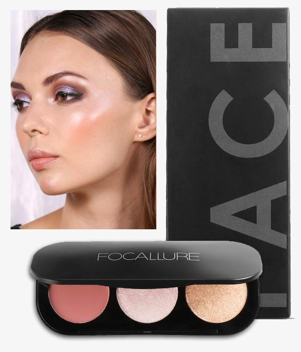 Palette Tri-Colore Blush & Surligner Focallure... MV26