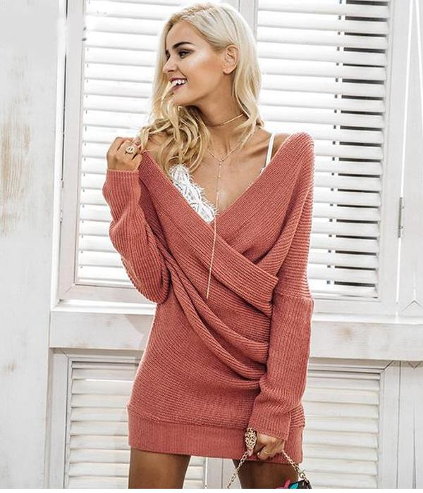 Robe Tricot Casual avec col V et Manches Longues ...RFH01