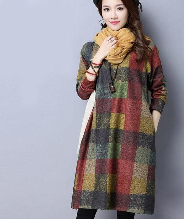 Slim Fit Plaid Winter Dress with Round Neck and Long Sleeves ... RFH17