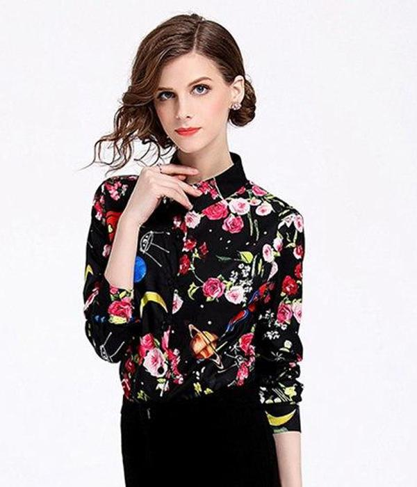 """Sky & Flowers"" Casual Style Long Sleeve Design Shirt ... TCH21 - Arnaud and Co"