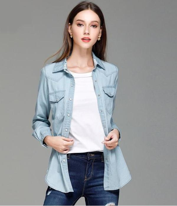 Casual Shirt with Long Sleeves, Decorations Pockets and Buttons ... TCH10