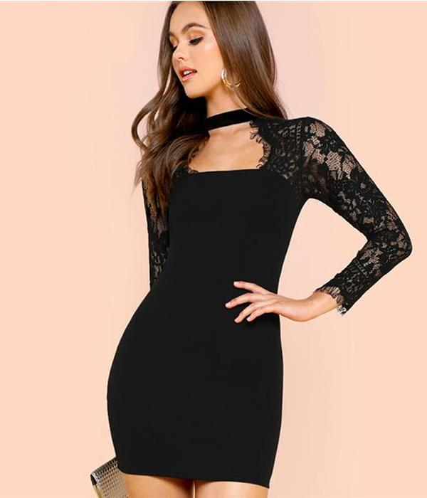 Sexy Pencil Size Party Dress, Bodycon with Lace Sleeves ... RHF10
