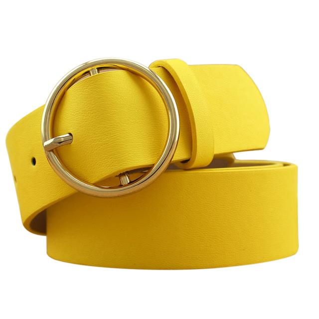 PU leather belt with round buckle for women ... CF001 - Arnaud and Co