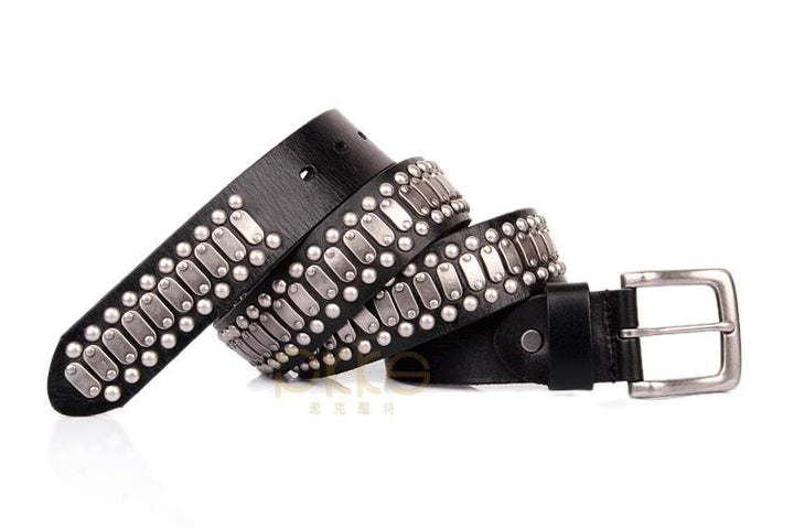 100% Genuine Leather Belt and Genuine Metal Rivets CH010 - Arnaud and Co