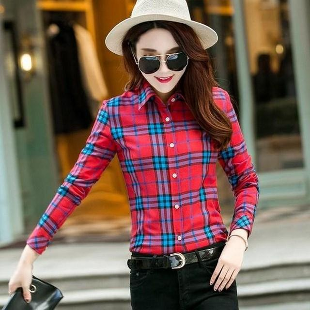 Women's Checkered Flannel Shirts HCF008 - Arnaud and Co