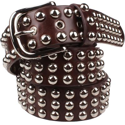 Genuine leather belt with metal rivets ... CF012 - Arnaud and Co