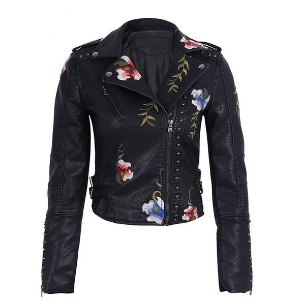"Blouson Simili-Cuir avec Broderies ""Floral""... BF021 - Arnaud and Co"