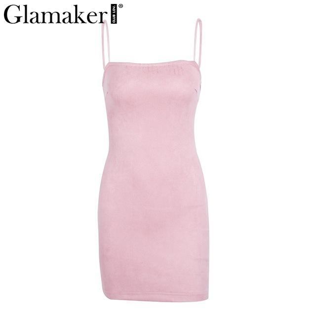 Glamaker Suede lace up sexy short dress women Backless strap Sleeveless dress Spaghetti strap bodycon elegant dress winter - Arnaud and Co