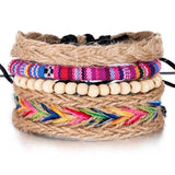"4PCS / Set ""Baba Cool"" Woodstock Style Colorful Bracelets in Hemp and Cotton ... BBR11 - Arnaud and Co"