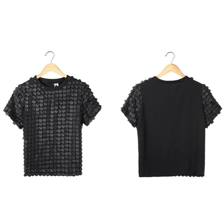 Fashion Chiffon Blouse with Round Neck and Short Sleeves ... TCH23 - Arnaud and Co