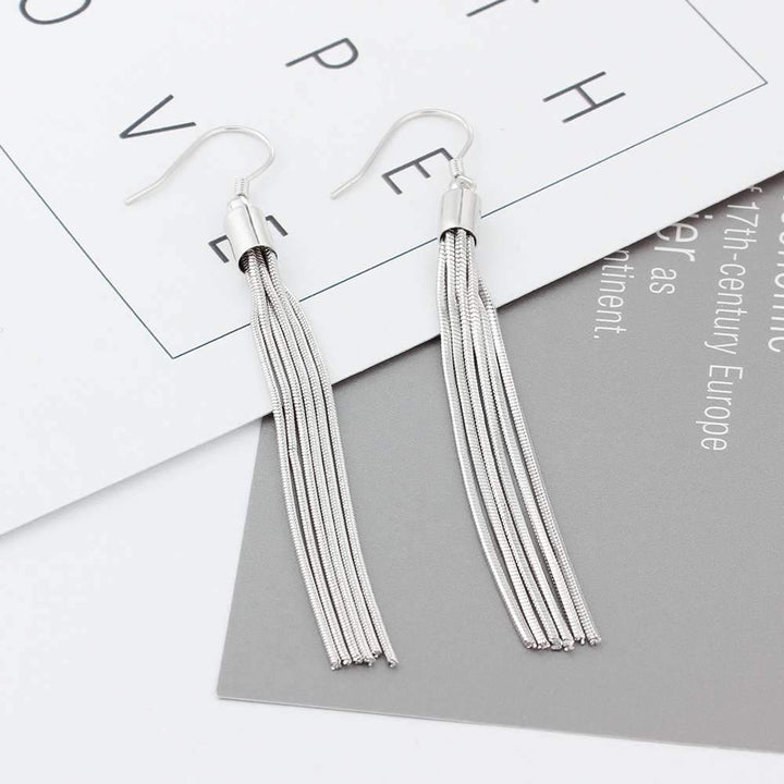 Fashion Style 925 Silver Yarn Drop Earrings ... BBO08 - Arnaud and Co