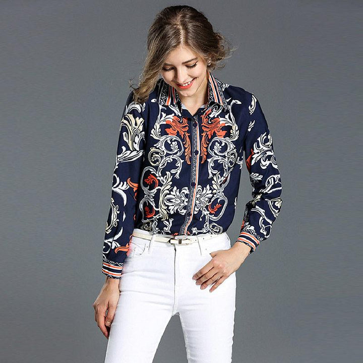 """High Fashion Style"" Floral Print Satin Long Sleeve Blouse AP37 - Arnaud and Co"