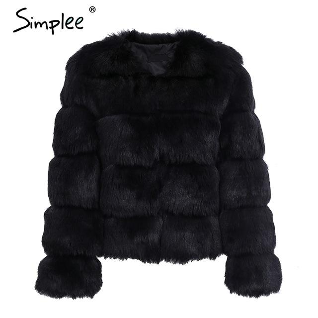 Simplee Vintage fluffy faux fur coat women Short furry fake fur winter outerwear pink coat 2017 autumn casual party overcoat - Arnaud and Co