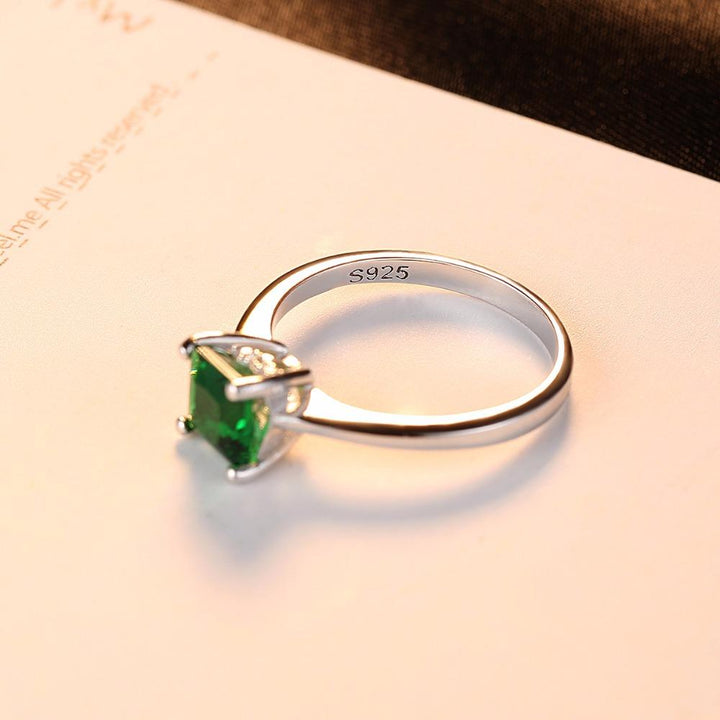 Silver Ring 925 with Zirconium Inlay and Crystal Frame Emerald ... BBF07 - Arnaud and Co