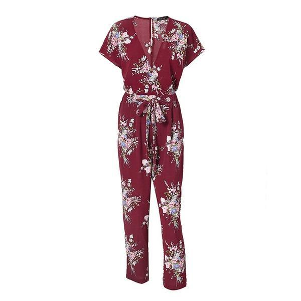 Floral print jumpsuit, V-neck ... RF057 - Arnaud and Co