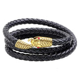 "Braided Leather Bracelet with Design Closure ""Snake"" ... BBR08 - Arnaud and Co"